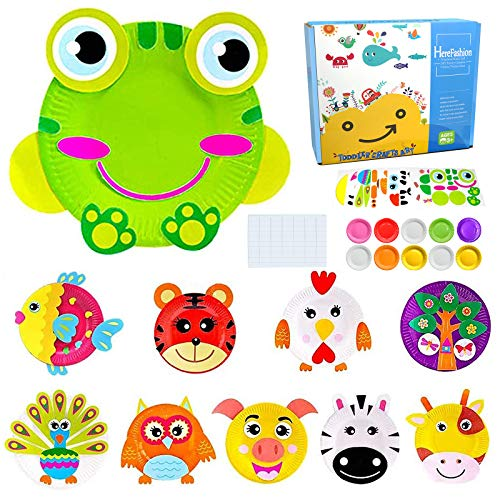 Product Image of the Here Fashion Pack of 10 Paper Plate Art Kit for Kids Toddler Crafts Art Toys -...
