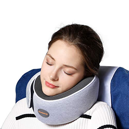 ComfoArray Travel Pillow , Neck Pillow with Head Support Design, Travel Pillow for Airplanes, 100% Memory Foam, Adjustable According to Neck Size. A Whole Travel kit.