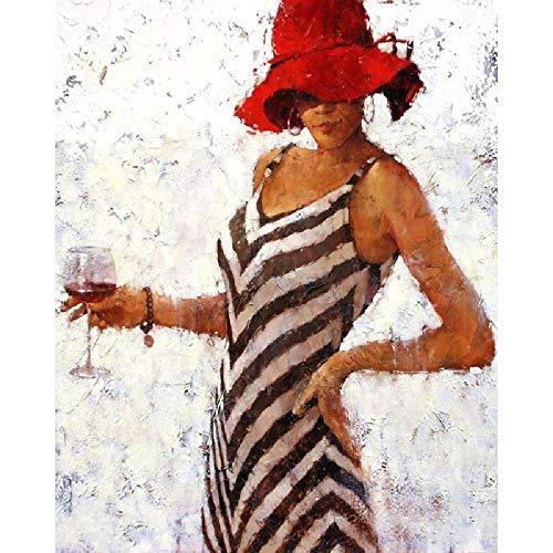 Pintura Digital Mujer, Tenencia, Copa De Vino Regalo De Decoración del Hogar De Pintura A Mano sobre Lienzo, Pintura De Pared De Bricolaje para Adultos Y Niños 40 * 50 Cm