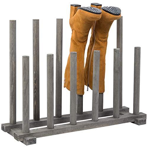 MyGift 6-Pair Dark Gray Wood Inverted Boot Rack, Entryway/Closet Shoe Organizer