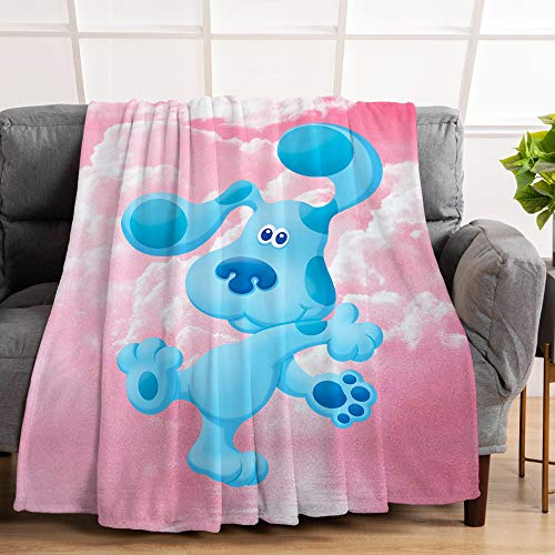 "PinkBubble Blue Dog Throw Blanket Flannel Print Soft Warm Blanket for Bed Couch Camping Travel Multi-Size 50""X40"" for Kids"