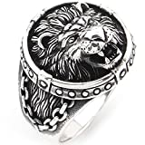 Solid 925 Sterling Silver - Mens Large Lion Ring - Sizes 7-13 Lion of Judah Ring (9)