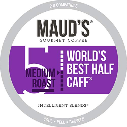Maud's Half Caff Coffee (World's Best Half Caff), 100ct. Solar Energy Produced Recyclable Single Serve Medium Roast Half Caff Coffee Pods – 100% Arabica Coffee California Roasted, KCup Compatible