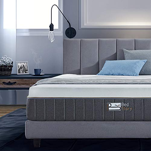 BedStory 12 Inch Gel Memory Foam Mattress-Medium-Firm Feel Bamboo Charcoal Infused Breathable Bed Mattress-Queen