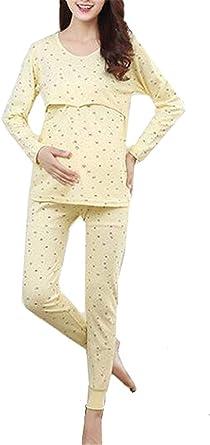Pijamas De Maternidad De para Pijamas Cuello Mujeres Redondo ...