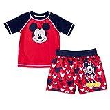 Mickey Mouse Baby Boy Toddler Rashguard Swim Shirt & Trunks 2 pc...