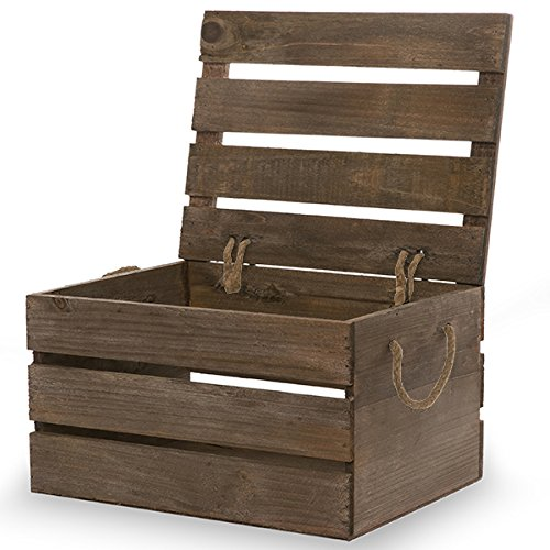 The Lucky Clover Trading Antique Storage Box with Swing Lid, Brown Crate, Natural Wood