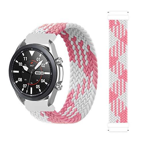 YGGFA Correa trenzada de 20 mm y 22 mm para Samsung Galaxy Watch 3/46 mm/42 mm/active 2/Gear S3 Pulsera ForHuawei Watch GT/2/2e/Pro (Color de la correa: rosa y blanco, tamaño: XXS (22 mm)
