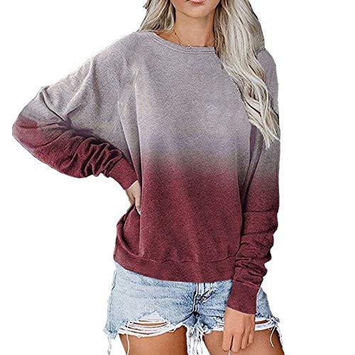 DDYT T-Shirt Manica Lunga Pullover Colore sfumato Tunica Manica Lunga Manica Lunga Color Block Casual da Donna
