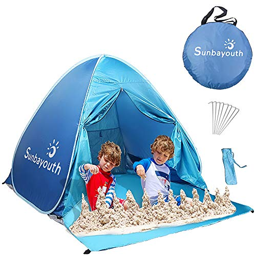SUNBA YOUTH Beach Tent, Beach Shade, Anti UV Instant Portable Tent Sun Shelter, Pop Up Baby Beach Tent, for 2-3 Person (Blue)
