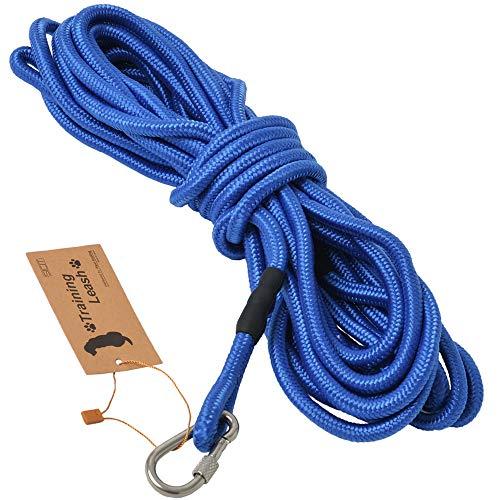 3色展開 (ロングリード 15m ブルー) 丸ロープ 軽量 中型犬 大型犬用 伸縮性抜群 絡みにくい 水に浮く頑丈...
