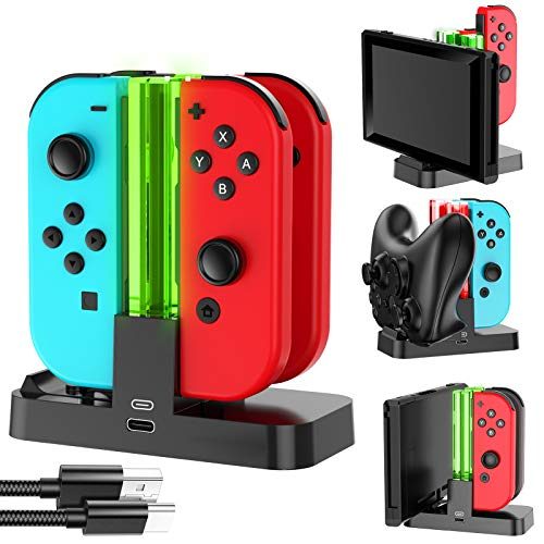 EPULY Switch Charger Dock Compatible with Nintendo Switch, Controller Charger Dock with Charging Indicator and Type C Charging Cable for Switch Joy Cons and Pro