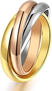 JAJAFOOK Women's Stainless Steel Gold Silver Rose Triple Band Interlocked Rolling Ring, US Size 05-09