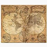 ASADVE Impresión En Lienzo Mapa Antiguo Doble Hemisferio Pintura Sin Marco Murales Pintura Decorativa Mapa del Mundo Carta Náutica 50 X 40Cm