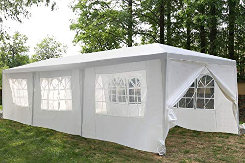 Gazebo Tent Canopy Tent Outdoor Gazebo Canopy Wedding Party Tent, White (10x30ft 8 Removable Sidewalls)