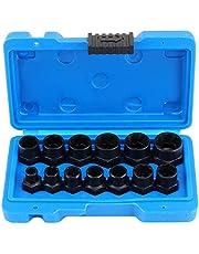 """HSEAMALL 13 STKS Twist Socket Set, 3/8 """"Drive Beschadigde Bout Remover, Grip Moer Extractor Socket Sets voor de Verwijdering van Vergrendeling Wielmoeren"""