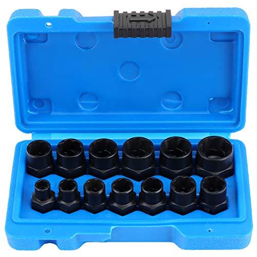HSEAMALL Juego de 13 piezas de zócalos giratorios, removedor de pernos dañados de 3/8 pulgadas, juego de tuercas extractoras de agarre para la eliminación de tuercas de rueda de bloqueo