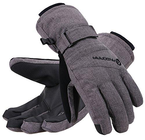 Andorra Winter Gloves Women Touchscreen Zipper Pocket Ski Gloves, Grey, S