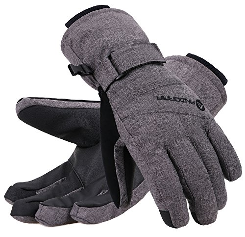 Andorra Winter Gloves Women Touchscreen Zipper Pocket Ski Gloves, Grey, S