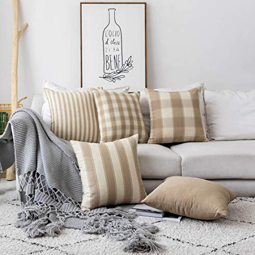 Home Brilliant Decorative Throw Pillow Covers Set of 5 Rustic Decoration Farmhouse Striped Textured Linen Burlap Pillow Cases Cushion Cover for Couch, Oatmeal, 18x18 inch (45cm)