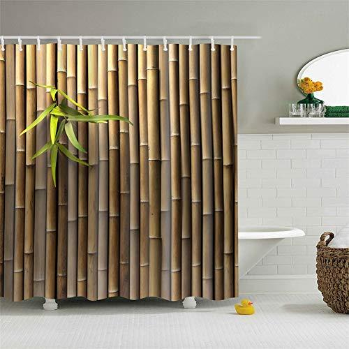 Meiju Duschvorhang, Wasserdicht Waschbar 12 Duschvorhangringe für Badezimmer 3D Digitaldruck Grüne Pflanze mit lebendigen Farben (120x180cm,J)