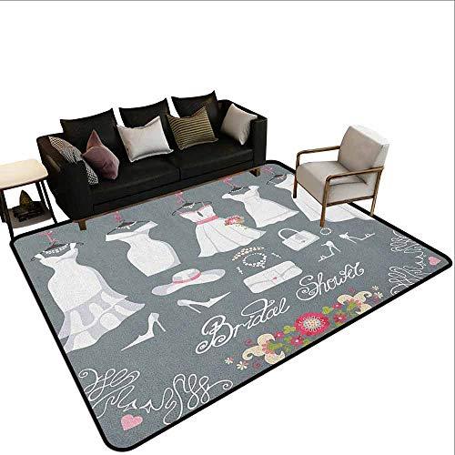 MsShe Slaapkamer tapijt Bruids Douche, Gelukkige Bruid Dag Citaat Bruidsjurk Swirls Celebration Art Print, Zwart Wit en Roze