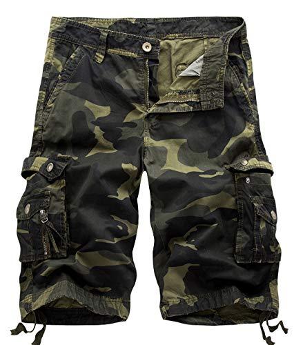 chouyatou Men's Active Normal Waist Loose Multi-Pocket Versatile Twill Cargo Shorts (36, Camo-Army)