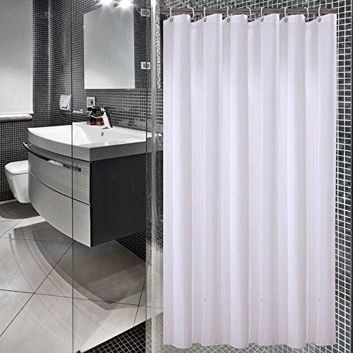 Sfoothome Wasserdichter Polyester Duschvorhang, schimmelbeständiger waschbarer Bad-Vorhang für Badezimmer mit Antirost-Ösen, Plastikvorhang-Ringen und schwerem Saum, weiß, 180 x 200cm