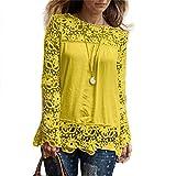 MORCHAN Chemise à Manches Longues pour Femmes Fashion Casual Blouse en Dentelle Tops en Coton lâche T-Shirt(FR-40/CN-XL,Jaune)