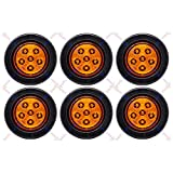 Qty 6-2.5' Inch Round 6 LED Amber Light with Reflector Reflex Lens Truck Trailer Side Marker Clearance Kit