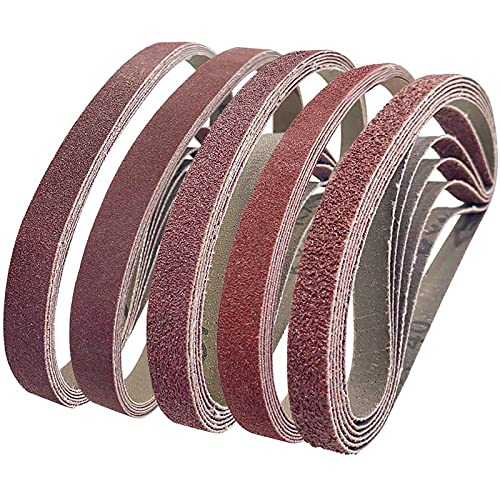 30Pcs Sanding Belts 13x457MM,Bolatus Aluminum Oxide Sanding Belt 40/80/120/180/320 Assorted Grits for Grinding Sharpening Polishing and Derusting (6 for Each Grit)