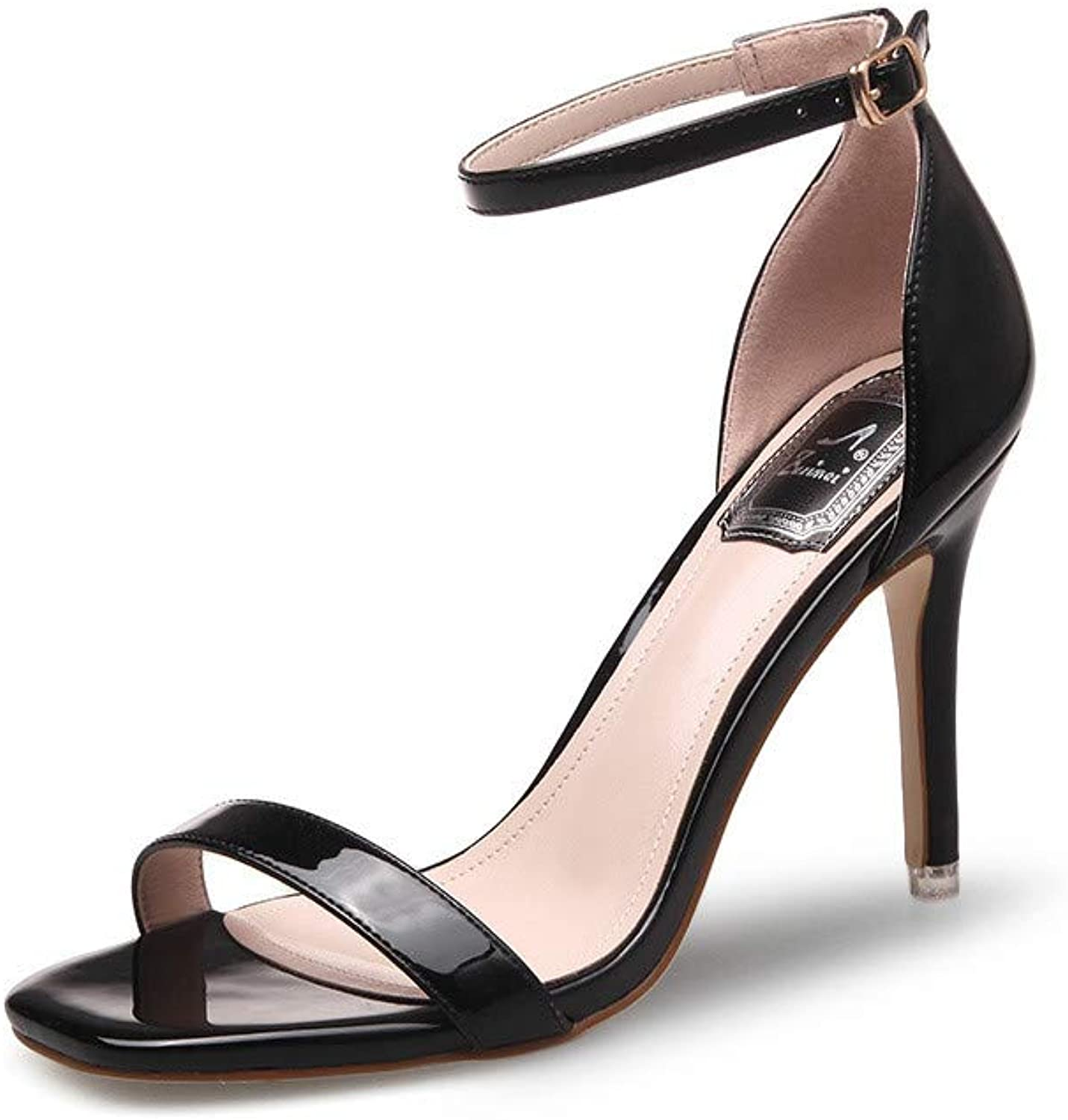 Lacquer Silver High Heel Summer Fine-Heeled Sandals Women Button Toes Naked Women's shoes Sexy,Black,34