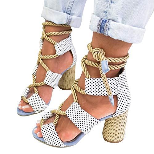 Vertvie Damen High Heels Sandale Plattform Riemensandalen Mit Absatz Bunt Gladiator Sandalen Schnür Stiefel Peeptoe Schuhe Gr.35-43(38 EU, Blauer Punkt)