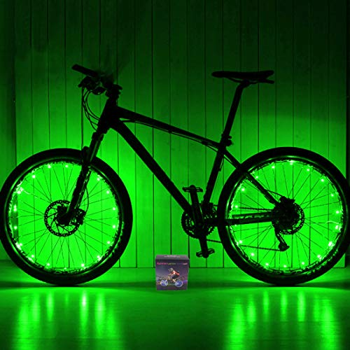 Xyemao Led Bike Wheel Lights, (2 Tire Pack) Waterproof Bright Bicycle Light Strip, Ultimate Safety & Style Lights, Cool Kids Bike Accessories, 3 AA Battery(Include), Green