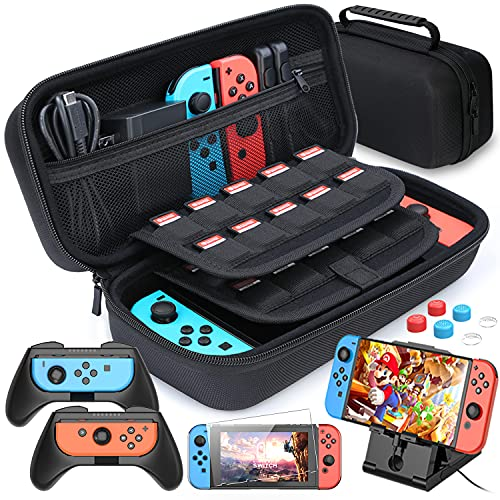 HEYSTOP Case Compatible with Nintendo Switch Carry Case Pouch Switch Cover Case 6 Joycon Grips and PlayStand for Nintendo Switch Screen Protector Thumb Grips Caps for Nintendo Switch Accessories