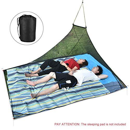 OTraki Mosquitera Viaje Cama Matrimonio Portátil para 2 Persona, Malla Mosquitera Carpa Exterior Hamaca A-Forma Antimosquitos Mosquito Net para Camping o Aventura