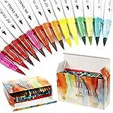 Aquarellstifte,100 Farben Marker Stifte Set Pinselstifte Set Bunte Aquarell Pinsel Brush Pen Set mit Doppelspitze für Malen, Zeichnen, Fasermaler, Handlettering, Kalligrafie, Kinder und Erwachsene