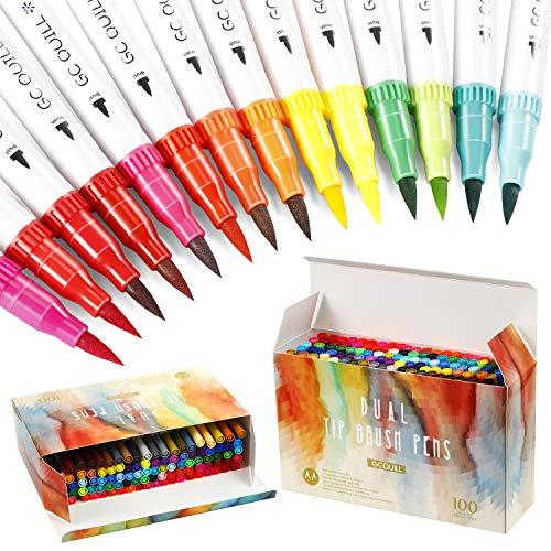 Pinselstifte Set,100 Farben Dual Tip Marker Stifte Set Aquarellstifte filzstifte Bunte Aquarell Pinsel Brush Pen Set mit Fineliner Tip 0.4 für Erwachsene und Kinder Malen,DIY-Malbuch,Manga,Kalligrafie
