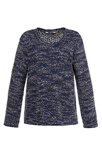 Ulla Popken Große Größen Damen Pullover, Popcorngarn Blau (Sky 76), 52 (Herstellergröße: 50+)
