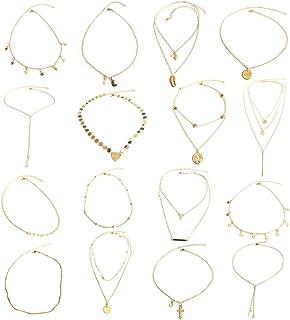 16 Piezas En Capas Collar Gargantilla Collar Colgante Ajustable Gargantilla Collar de Cadena de Múltiples Capas Conjunto para Mujeres Niñas