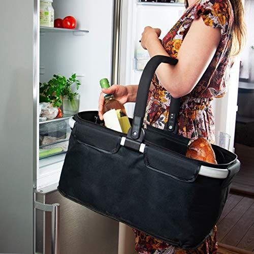Luxury Goods MANGELSDORF I Einkaufskorb faltbar mit Kühlfunktion | Schwarz | Kühltasche | Faltkorb mit Deckel | Isolierkorb | Einkaufstasche | Klappkorb | Thermotasche | Thermokorb klappbar (Schwarz)