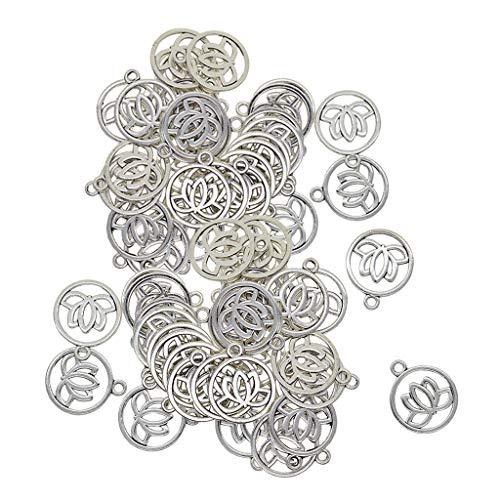 P Prettyia 60Pcs Tibetischen Silber Aushöhlen Yoga Lotus Blume Anhänger Charms Charming Beads