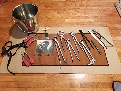 Equipment Essentials 14 Piece Farrier's Tool Kit Set Horse Hoof Nippers Clincher Tester Knife Rasp Chisel + Bucket & Fold Up Case