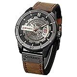 Curren Quartz Uhren Herren, Casual Analoge Quartzuhr, Multifunktionale Militär Sport Wristwatch Männer, Wasserdicht Lederarmband mit Datumsanzeige 8301