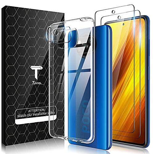TOCOL Funda Compatible con Xiaomi Poco X3 Pro/Poco X3 NFC, 2 Piezas Protector de Pantalla 2 Piezas Lente de cámara Vidrio Templado HD Clara Carcasa Suave TPU Ultrafina Anticoque Case, Transpar