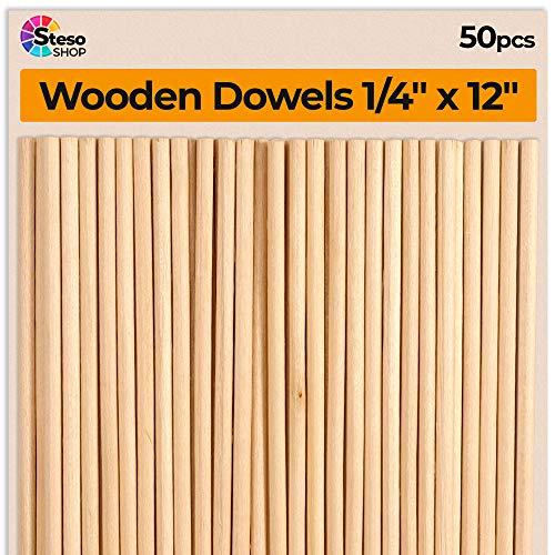 Tasselli in legno – tasselli da 0,6 x 30,5 cm in legno duro – 50 pezzi di tasselli per la lavorazione del legno – tasselli in legno da 0,6 cm