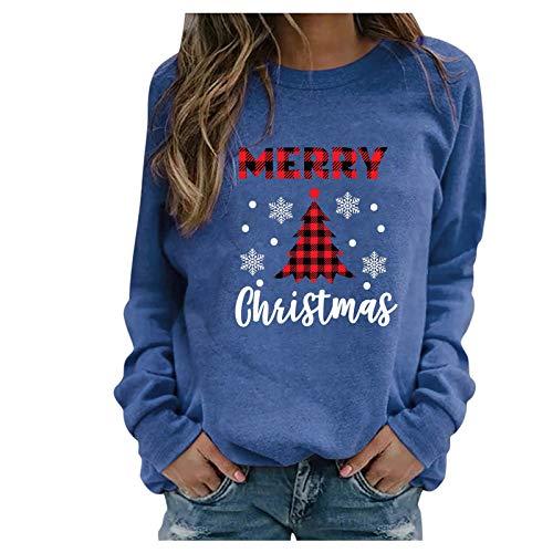 IHGWE Frauen lässig Weihnachten gedruckt Langarm Sweatshirt Pullover Shirts Top...