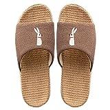 ypyrhh Sandalia Tipo Masaje,Zapatillas de Lino de algodón Padre-Hijo,Zapatillas de Silencio de Pisos-Marron Oscuro_33-34 niños,Zapatillas Flip Flops Sandal
