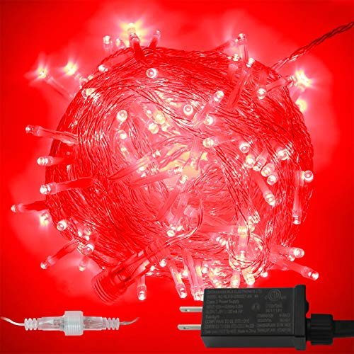 YAOZHOU Valentine's Day String Lights Indoor Outdoor IP44 Waterproof 66Ft 200LED 8 Modes Red Fairy Decor Lights for Holiday,Party,Wedding,Garden(Red)