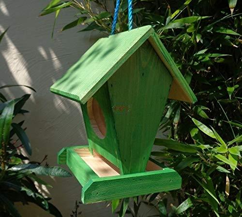 Vogelfutterstation-BTV-X-VOFU1K-gras001 XXL PREMIUM Vogelhaus Futterstation grasgrün Marien Käfer grün PURE GREEN Garten grüner Nistkasten Insekten, als Ergänzung zum Meisen Nistkasten Meisenkasten oder zum Insektenhotel, Vogelfutterhaus Futterstationen für Vögel, Vogelhäuschen / Vogelvilla zum Hängen und Aufstellen von BTV - 2